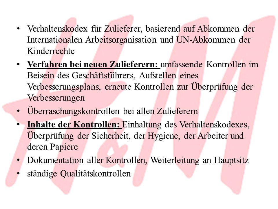 Verhaltenskodex für Zulieferer, basierend auf Abkommen der Internationalen Arbeitsorganisation und UN-Abkommen der Kinderrechte