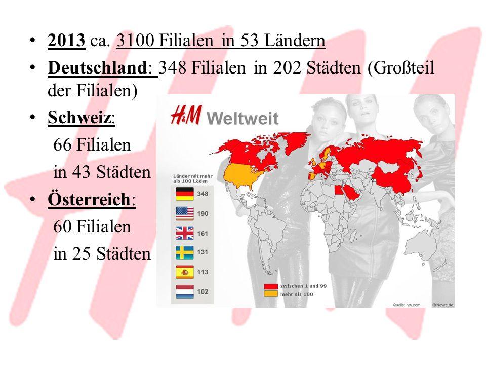 2013 ca. 3100 Filialen in 53 Ländern Deutschland: 348 Filialen in 202 Städten (Großteil der Filialen)