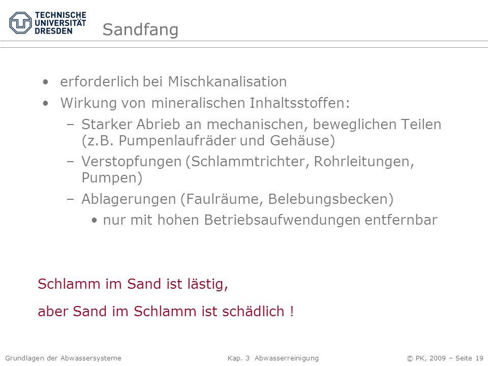Sandfang erforderlich bei Mischkanalisation