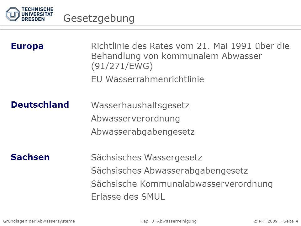 Gesetzgebung Europa. Richtlinie des Rates vom 21. Mai 1991 über die Behandlung von kommunalem Abwasser (91/271/EWG)