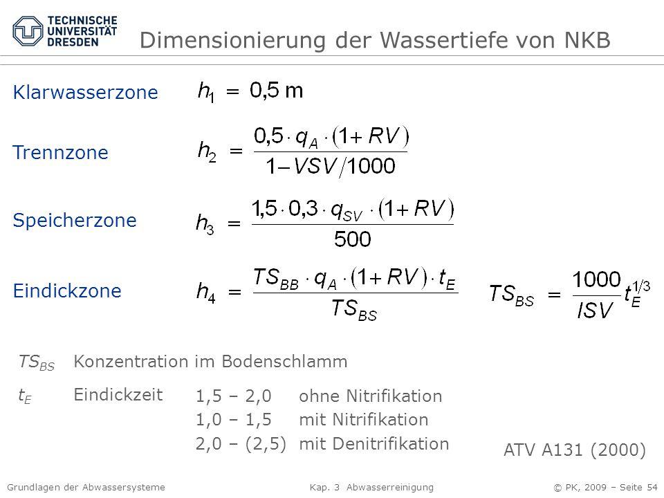 Dimensionierung der Wassertiefe von NKB