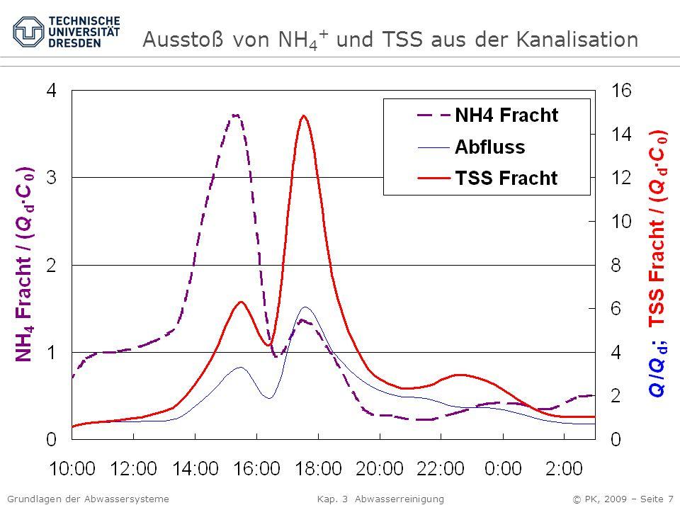 Ausstoß von NH4+ und TSS aus der Kanalisation