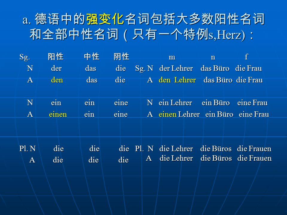 a. 德语中的强变化名词包括大多数阳性名词和全部中性名词(只有一个特例s,Herz):