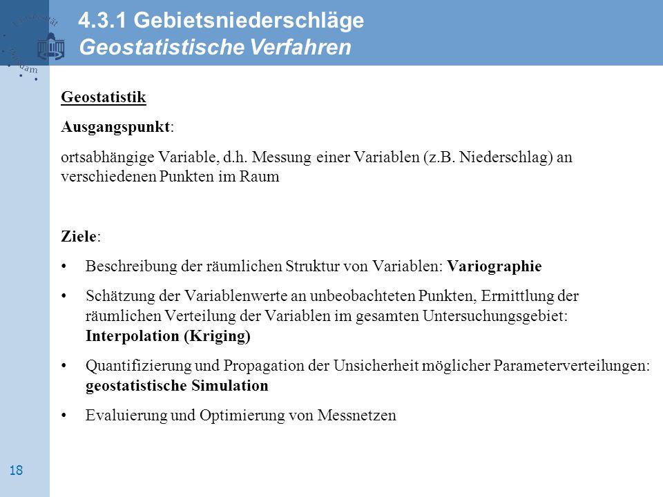 4.3.1 Gebietsniederschläge Geostatistische Verfahren