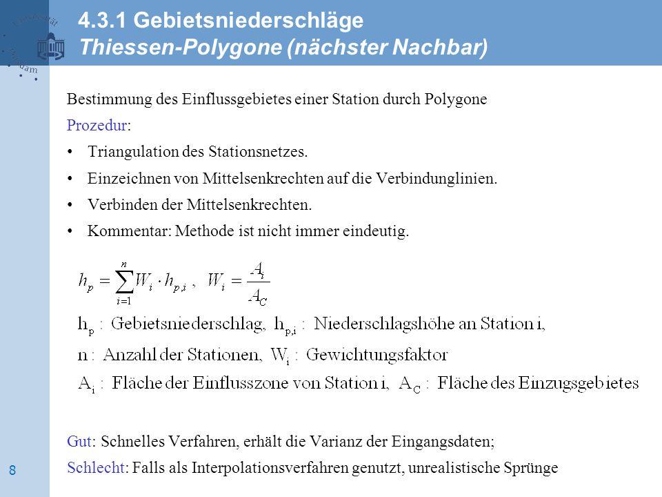4.3.1 Gebietsniederschläge Thiessen-Polygone (nächster Nachbar)