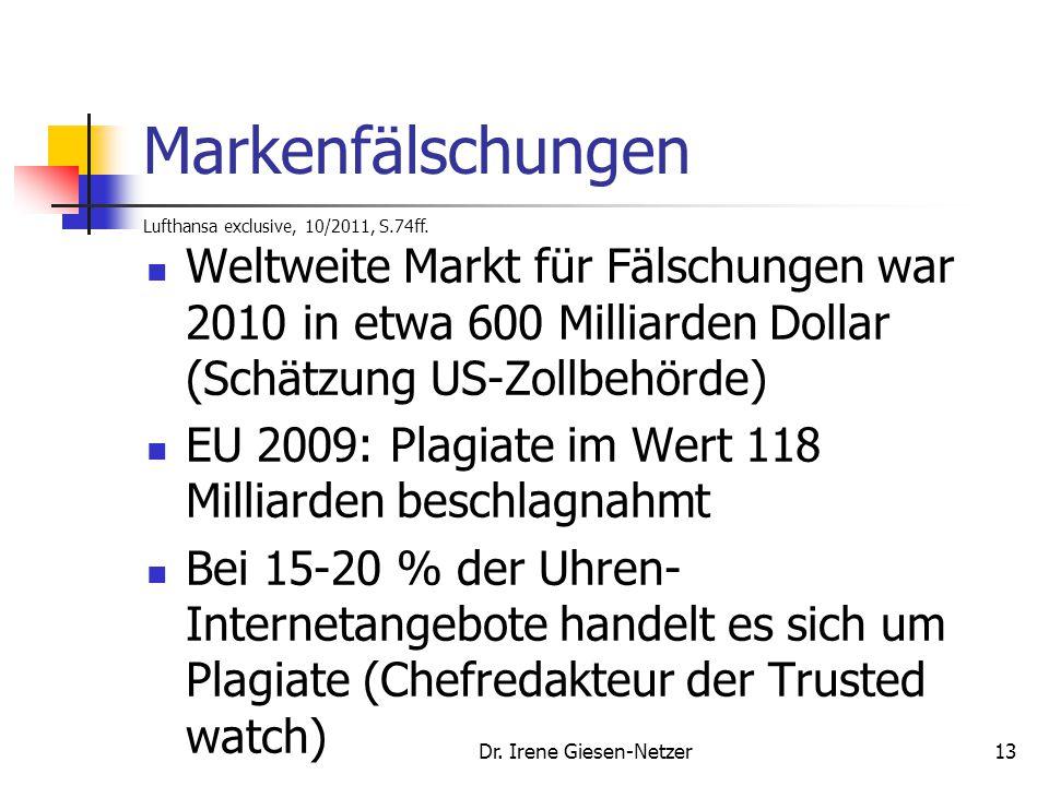 Markenfälschungen Lufthansa exclusive, 10/2011, S.74ff.