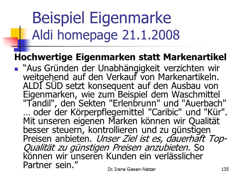 Beispiel Eigenmarke Aldi homepage 21.1.2008