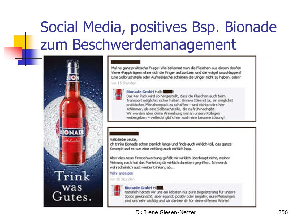 Social Media, positives Bsp. Bionade zum Beschwerdemanagement