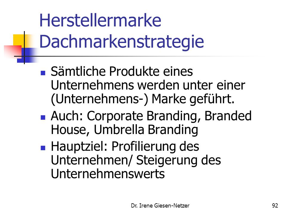Herstellermarke Dachmarkenstrategie