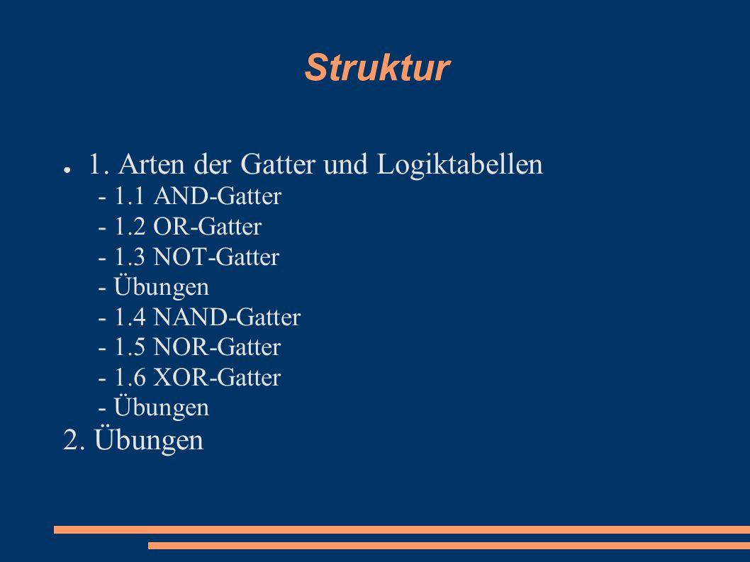 Struktur 1. Arten der Gatter und Logiktabellen 2. Übungen