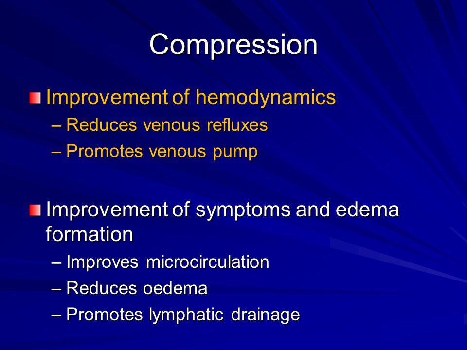 Compression Improvement of hemodynamics