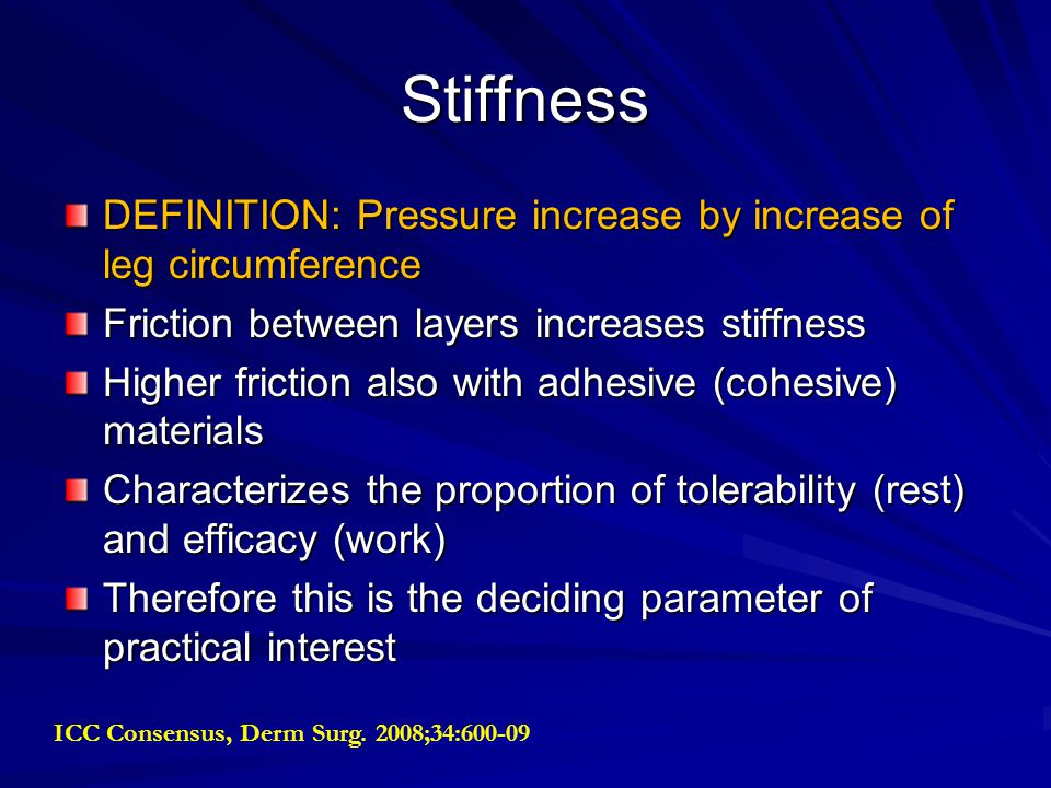 Stiffness DEFINITION: Pressure increase by increase of leg circumference. Friction between layers increases stiffness.
