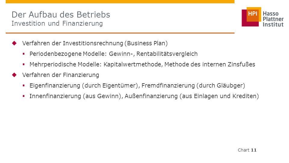 Der Aufbau des Betriebs Investition und Finanzierung