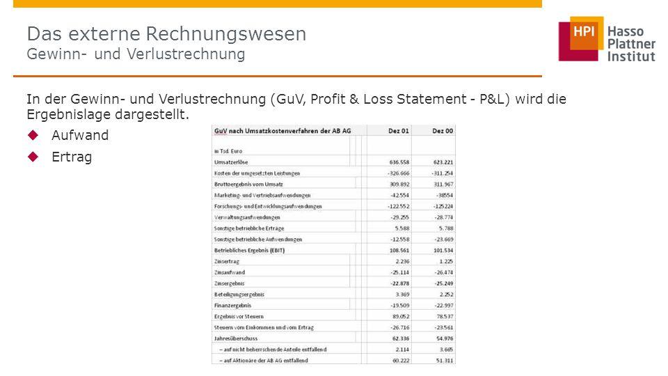 Das externe Rechnungswesen Gewinn- und Verlustrechnung