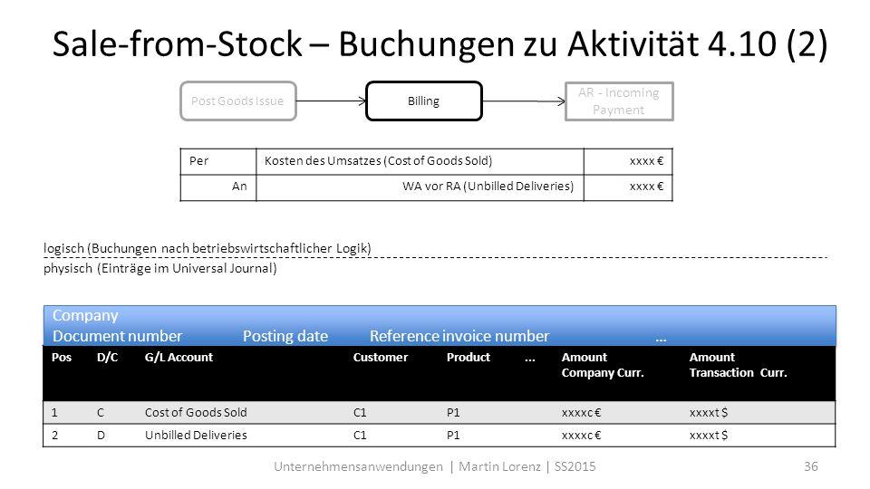 Sale-from-Stock – Buchungen zu Aktivität 4.10 (2)