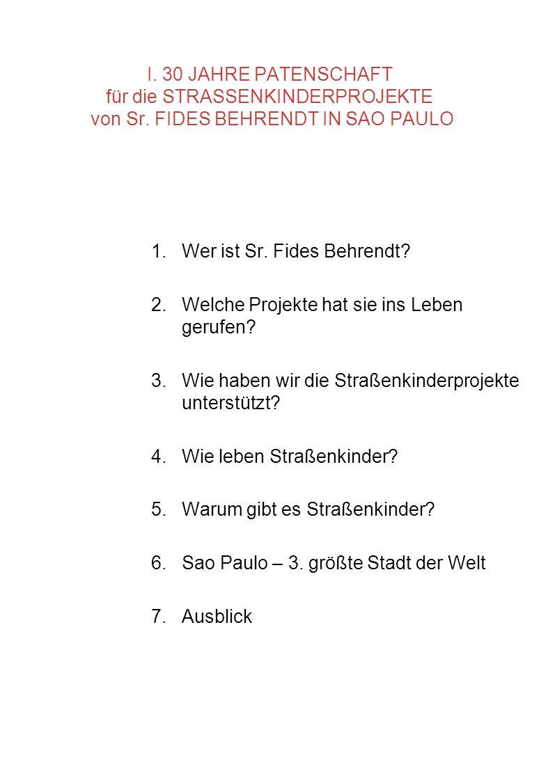 I. 30 JAHRE PATENSCHAFT für die STRASSENKINDERPROJEKTE von Sr
