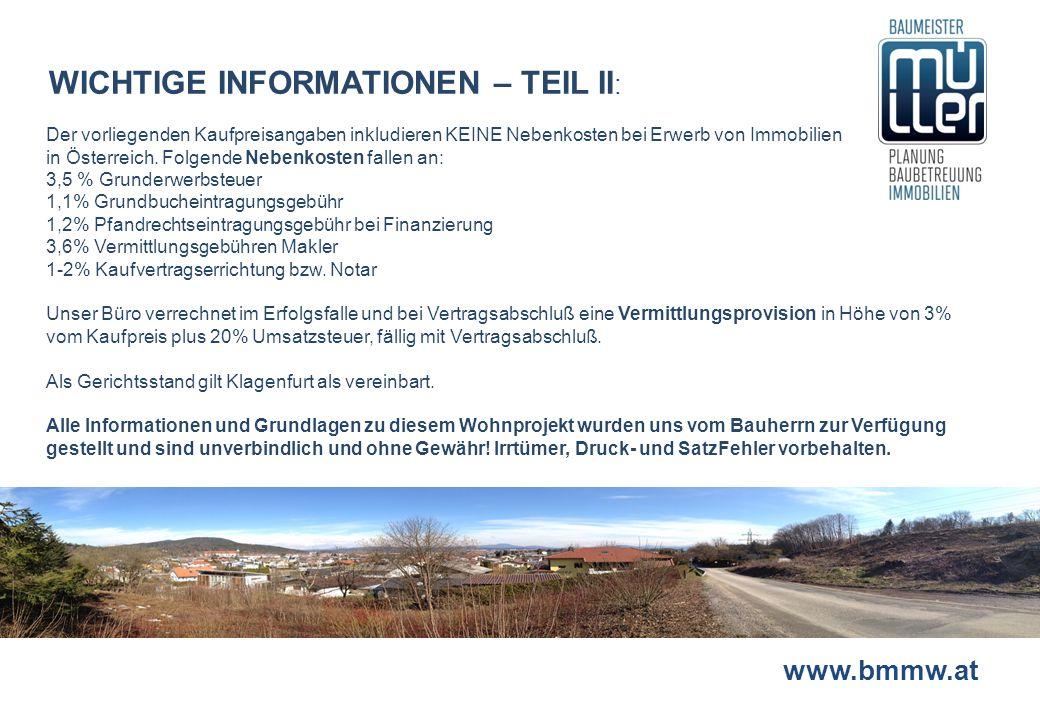 WICHTIGE INFORMATIONEN – TEIL II: