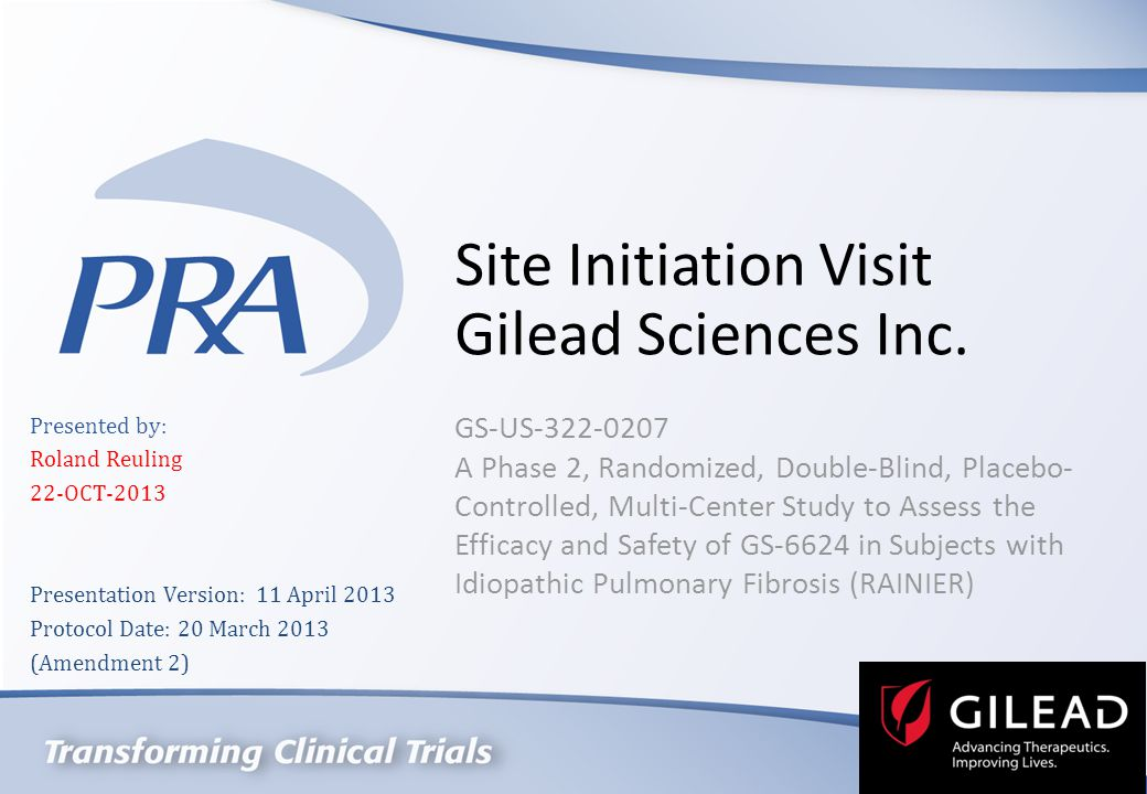 Site Initiation Visit Gilead Sciences Inc.
