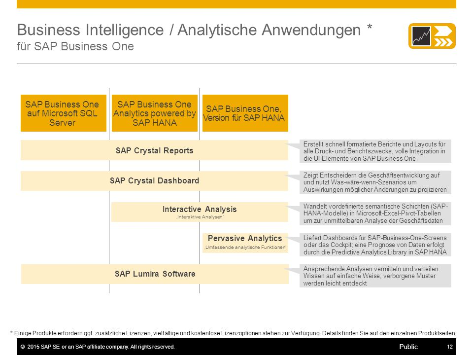Business Intelligence / Analytische Anwendungen * für SAP Business One