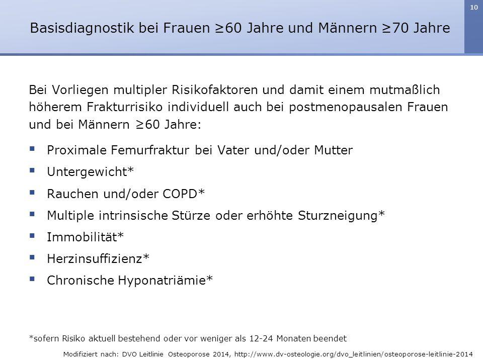 Basisdiagnostik bei Frauen ≥60 Jahre und Männern ≥70 Jahre