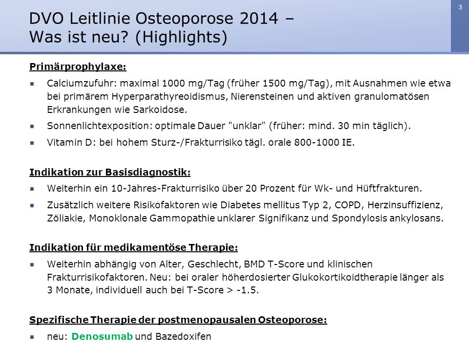 DVO Leitlinie Osteoporose 2014 – Was ist neu (Highlights)