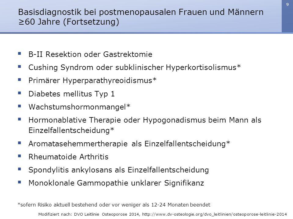 Basisdiagnostik bei postmenopausalen Frauen und Männern ≥60 Jahre (Fortsetzung)