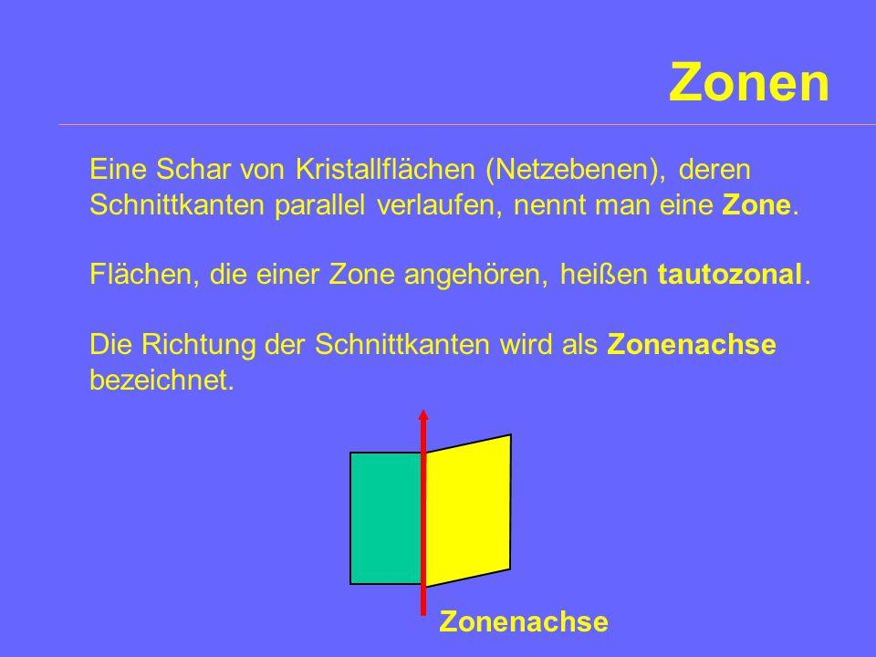 Zonen Eine Schar von Kristallflächen (Netzebenen), deren Schnittkanten parallel verlaufen, nennt man eine Zone.