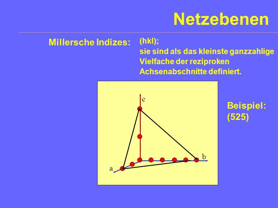 Netzebenen Millersche Indizes: Beispiel: (525) (hkl);