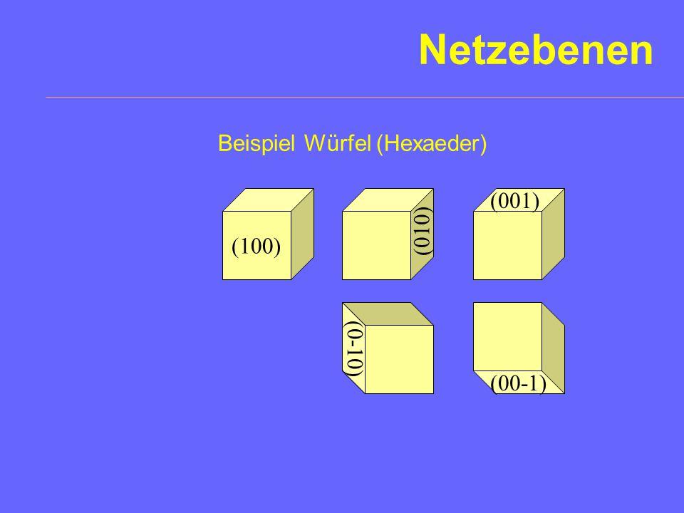 Netzebenen Beispiel Würfel (Hexaeder) (001) (100) (010) (0-10) (00-1)