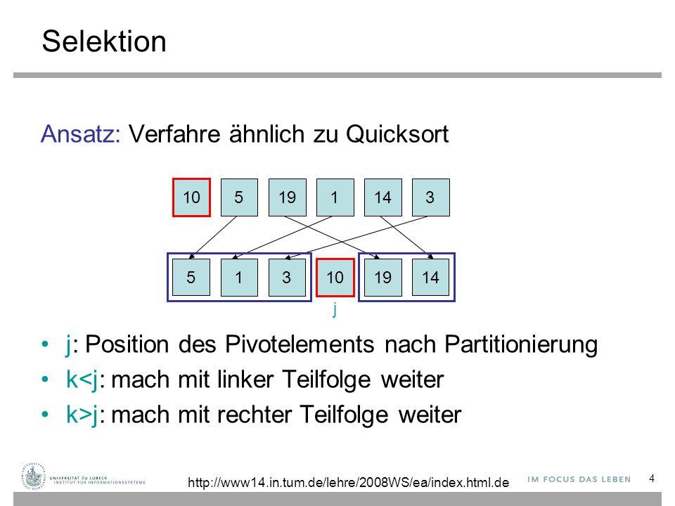 Selektion Ansatz: Verfahre ähnlich zu Quicksort