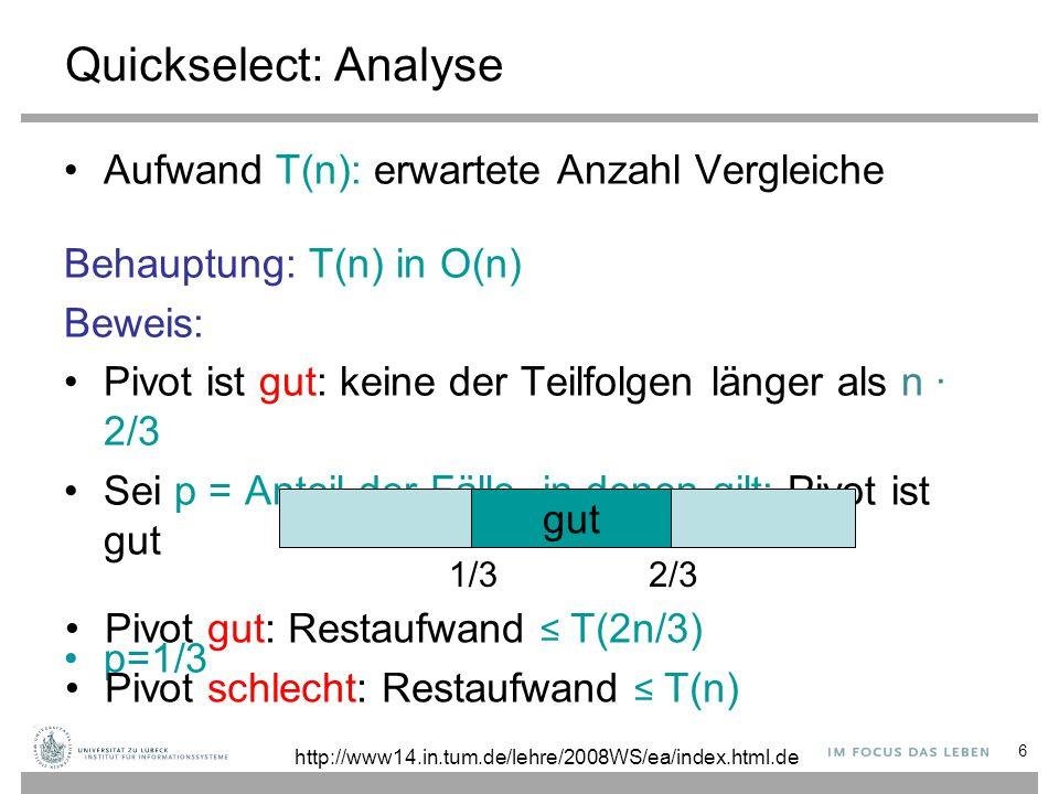 Quickselect: Analyse Aufwand T(n): erwartete Anzahl Vergleiche