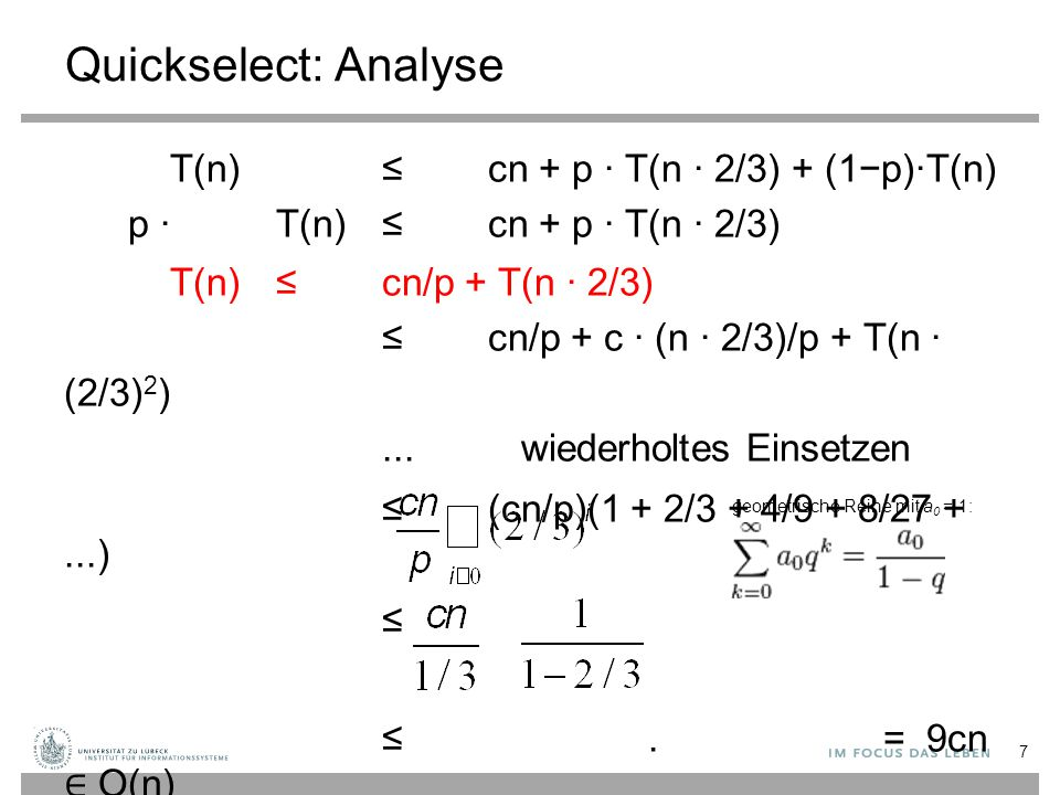 Quickselect: Analyse