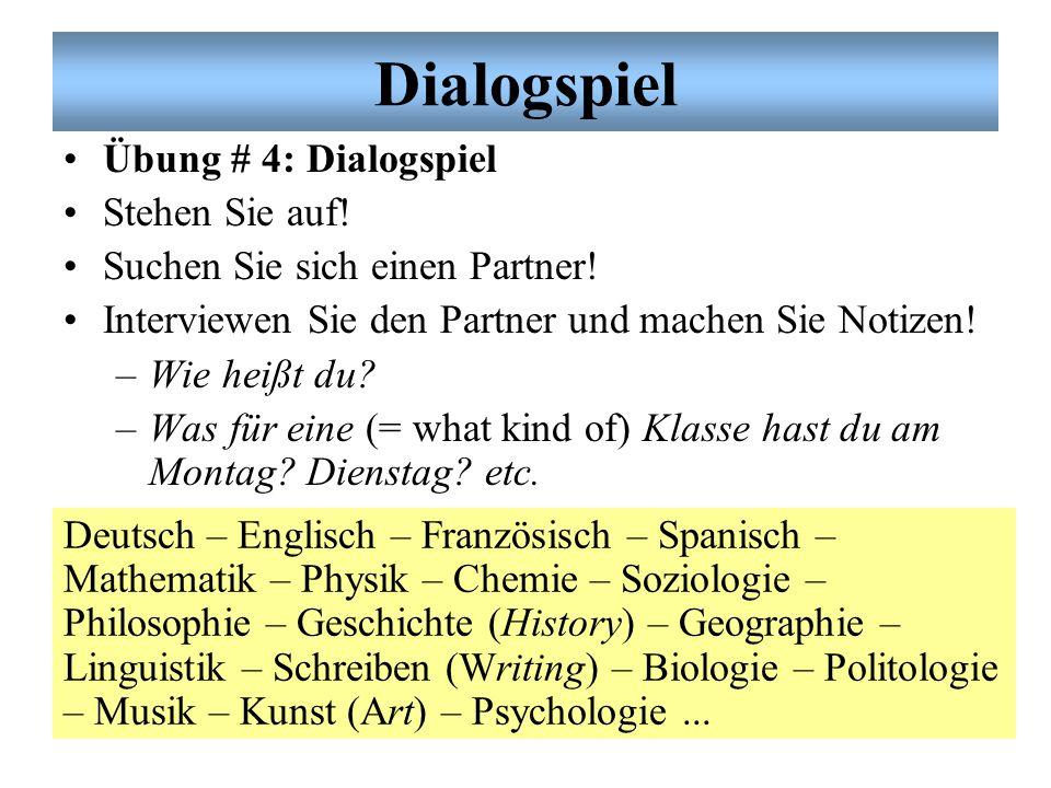 Dialogspiel Übung # 4: Dialogspiel Stehen Sie auf!