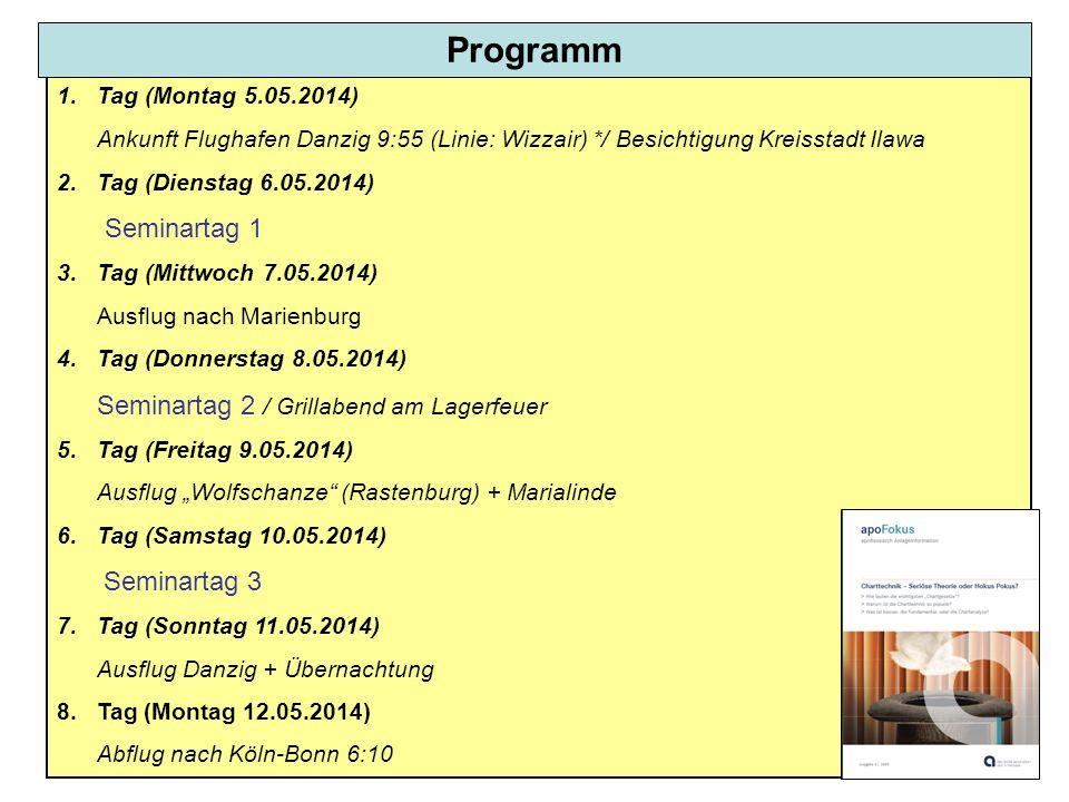 Programm 1. Tag (Montag 5.05.2014) Ankunft Flughafen Danzig 9:55 (Linie: Wizzair) */ Besichtigung Kreisstadt Ilawa.