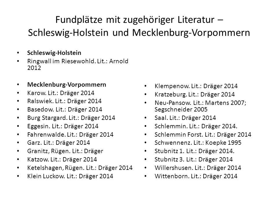 Fundplätze mit zugehöriger Literatur – Schleswig-Holstein und Mecklenburg-Vorpommern