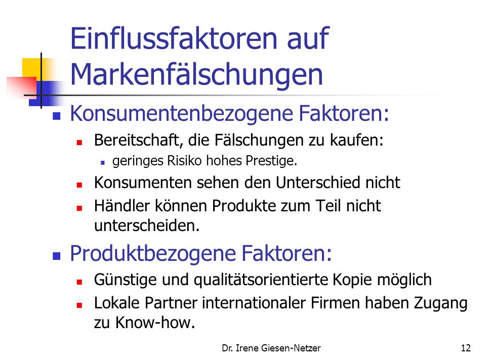 Einflussfaktoren auf Markenfälschungen