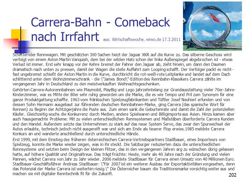 Carrera-Bahn - Comeback nach Irrfahrt aus: Wirtschaftswoche, wiwo