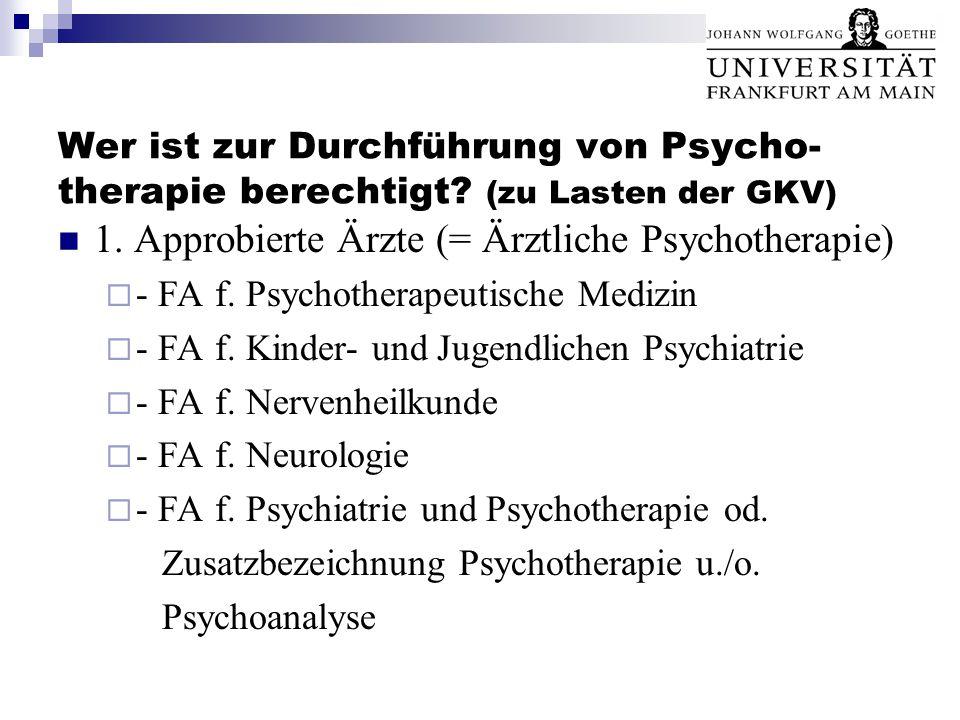 1. Approbierte Ärzte (= Ärztliche Psychotherapie)