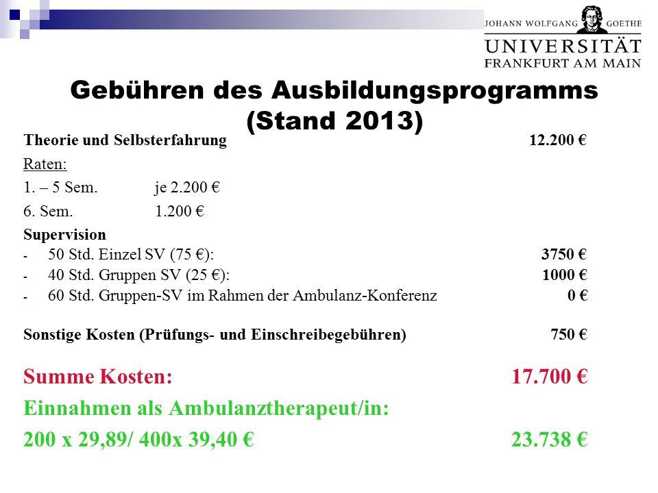 Gebühren des Ausbildungsprogramms (Stand 2013)