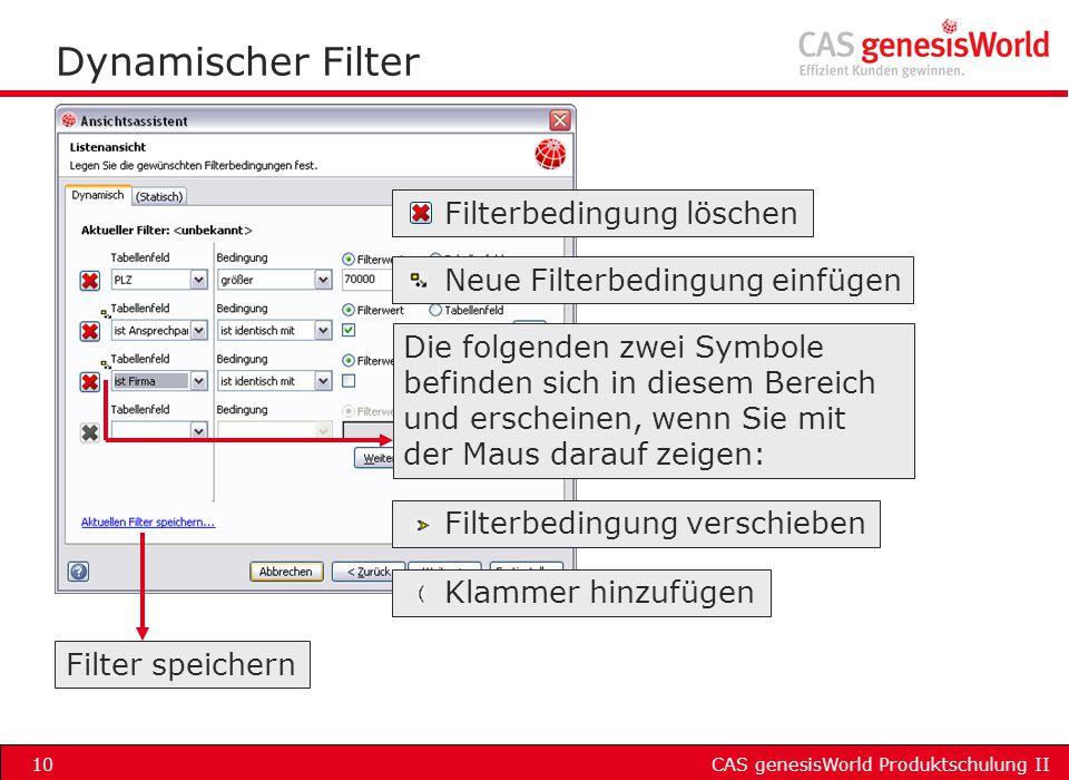 Dynamischer Filter Filterbedingung löschen