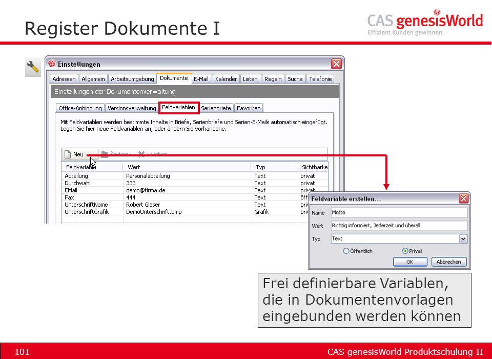 Register Dokumente I Frei definierbare Variablen,