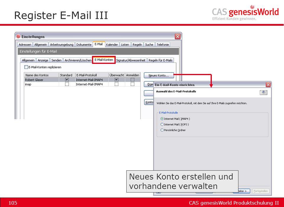 Register E-Mail III Neues Konto erstellen und vorhandene verwalten