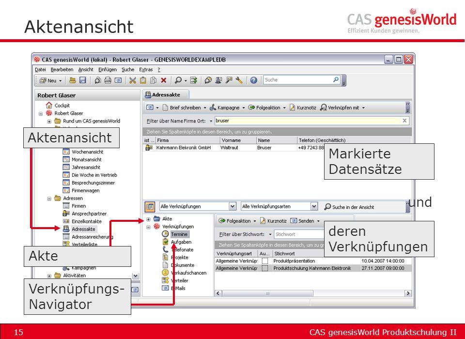 Aktenansicht Aktenansicht Markierte Datensätze und deren Verknüpfungen