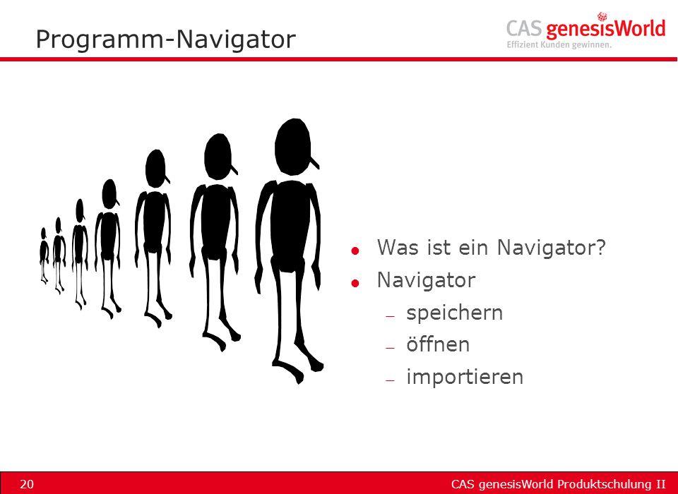 Programm-Navigator Was ist ein Navigator Navigator speichern öffnen