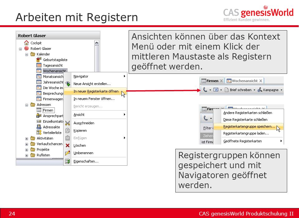 Arbeiten mit Registern