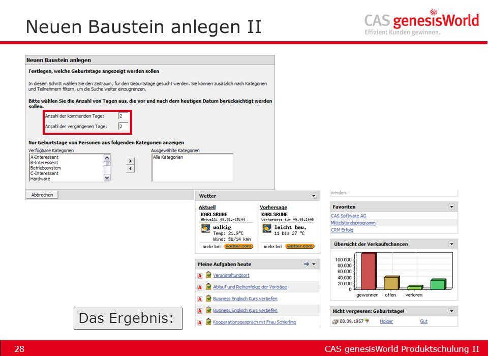Neuen Baustein anlegen II