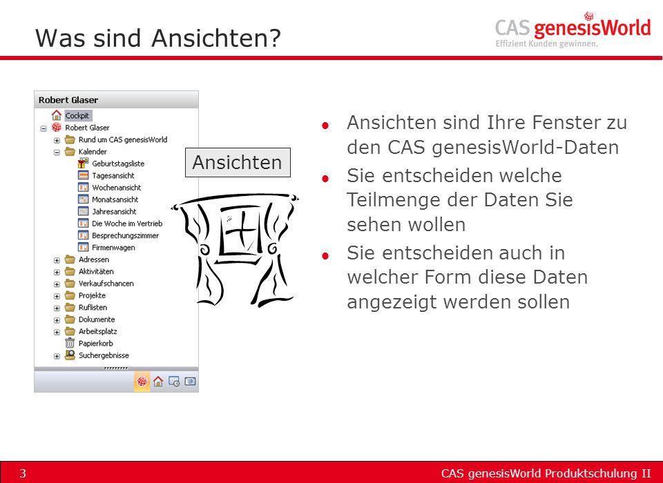 Was sind Ansichten Ansichten sind Ihre Fenster zu den CAS genesisWorld-Daten. Sie entscheiden welche Teilmenge der Daten Sie sehen wollen.