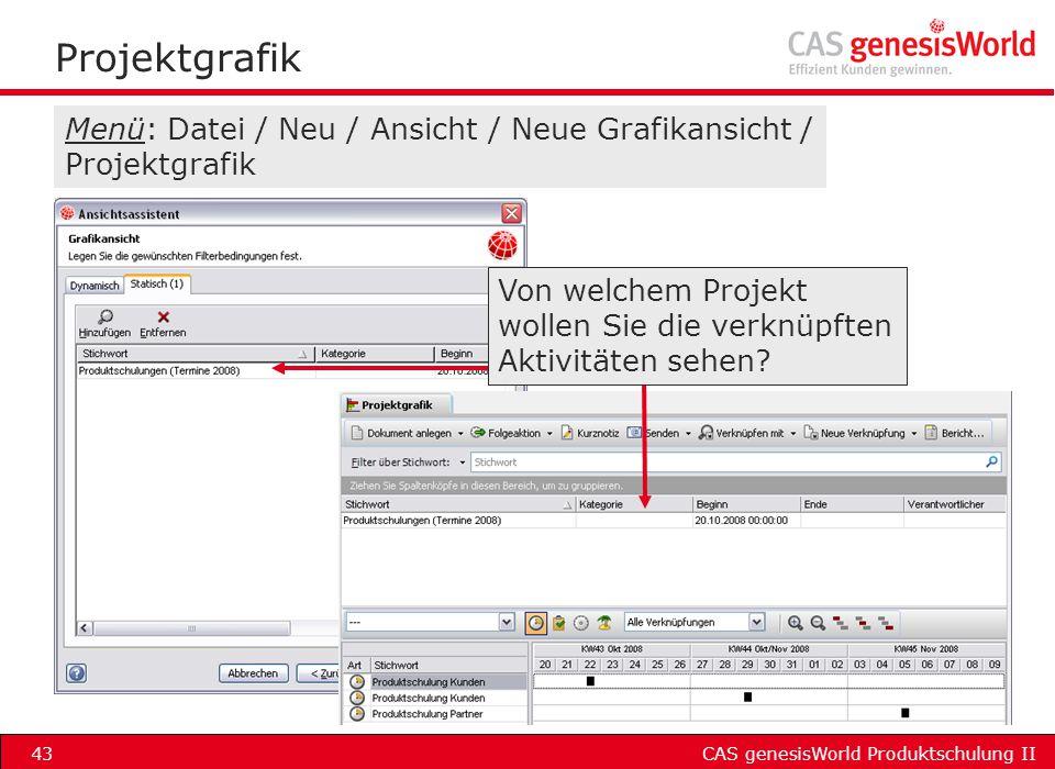 Projektgrafik Menü: Datei / Neu / Ansicht / Neue Grafikansicht / Projektgrafik.
