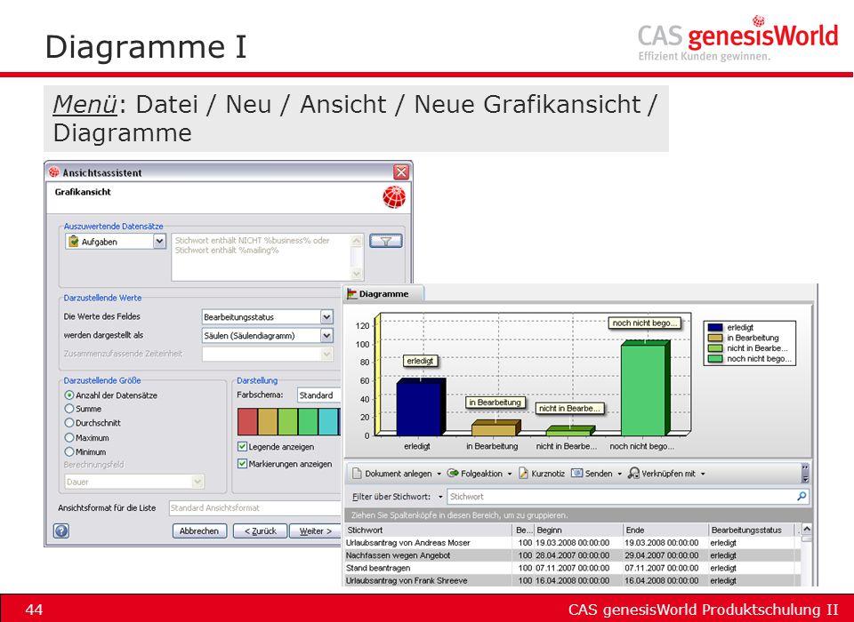 Diagramme I Menü: Datei / Neu / Ansicht / Neue Grafikansicht / Diagramme