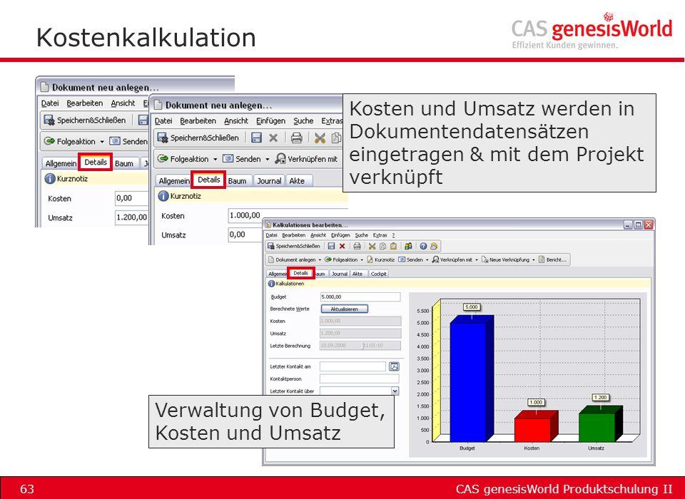Kostenkalkulation Kosten und Umsatz werden in Dokumentendatensätzen